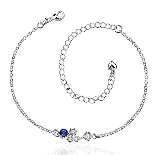 Bishilin Charm Anklet Bracelet Geometric Cubic Zirconia anklet ocean 3 CM by Bishilin