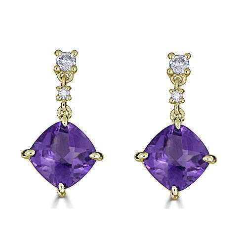 14K Gold Natural Amethyst Dangle Earrings with Certified Diamonds - February Birthstone (Yellow-Gold)