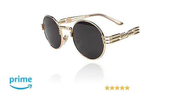 c815c867b5 Amazon.com  TELAM Round Retro Steampunk Sunglasses  Kitchen   Dining