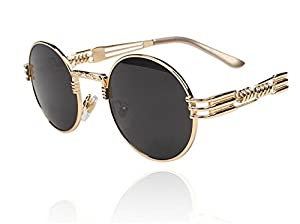 Amazon.com | Telam Round Retro Steampunk Sunglasses: Shot