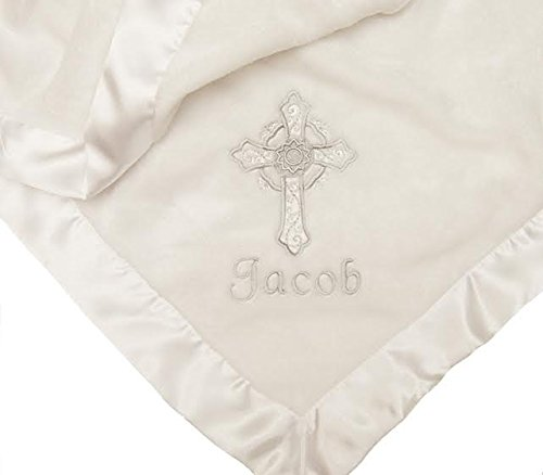 (PERSONALIZED Embroidered Satin Trimmed Classic White Christening Baptism Baby Blanket)