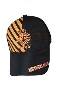 Netherlands Black With Orange Stripes KNVB Logo FIFA Soccer World Cup FlexFit Hat Cap