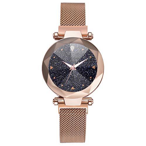 (XBKPLO Quartz Watch, Fashion Concise Luxury Convex Glass Starry Sky Analog Wrist Watches Fine Mesh Strap Magnetic Buckle Women Watch Bracelet Jewelry Gift)