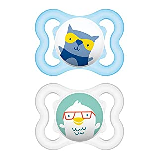 MAM Mini Air Pacifiers (2 Pack, 1 Sterilizing Pacifier Case), MAM Sensitive Skin Pacifier 0-6 Months, Best Pacifier for Breastfed Babies, Baby Pacifiers, Baby Boy