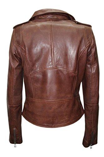 3349b3673 Ladies Casual Retro Brown Brando Soft Nappa Leather Biker Jacket 14