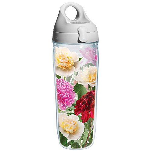 Tervis Peonies from Heaven Wrap Water Bottle with Grey Lid, 24-Ounce, Garden Party (Water Garden Peony)