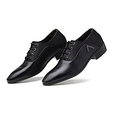 2018 Mens New Arrival Shoes, Men's Shoes Smooth PU Leather & Canvas Splice Upper Lace Up Breathable Formal Business Oxfords (Color : Black, Size : 10 UK)
