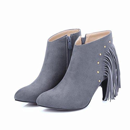 Ankle Boots Dress High Gray Latasa Heels Womens Tassel Studded qw4qBzXR