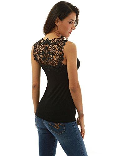 Lace V-neck Blouse - PattyBoutik Women Crochet Lace V Neck Sleeveless Blouse (Black Medium)