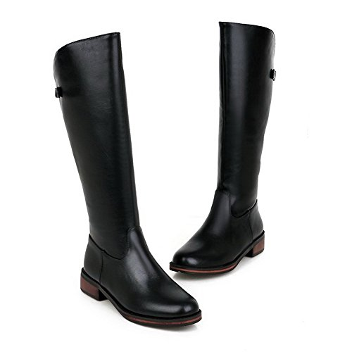 Closed Women's Boots Low Solid PU Black Heels AgooLar Zipper Round Toe zwqXaHwRd