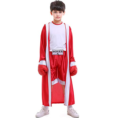 LOLANTA Boys Boxing Hooded Costume Kids Knock Out Boxer Robe Halloween Cosplay Suit (Red, 8-10)