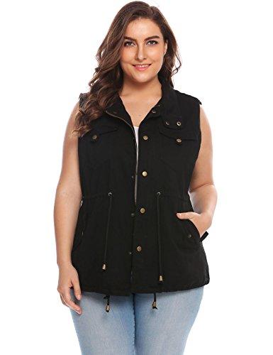 (Involand Womens Lightweight Sleeveless Military Anorak Vest,Black,22 Plus)