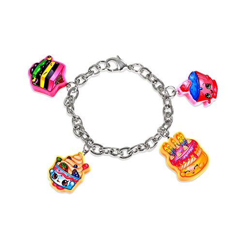Ring Yochi (Shopkins Bracelet with 4 Cutout Character Charms + Free Bonus SPK Mystery Jewelry Pc. (Cupcake Chic, Yo-Chi, Wishes, Le'Quorice))
