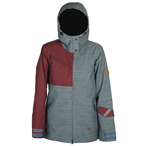 Ride Snowboard Outerwear Women's Cherry Jacket, Slate Slub/Burgundy, Small (Ride Women Snowboard Jacket)
