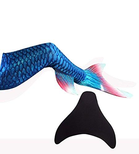 LikeepTM Meerjungfrauenschwanz zum Schwimmen mit Meerjungfrau Flosse mit Kostenloser Classic Silicone Badekappe + Ohrenstöpsel + Nasenklammer (Dunkelblau, S)