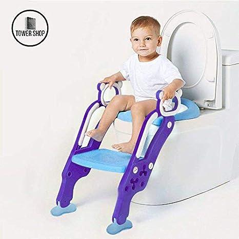 Tower Shop - Adaptador Asiento Wc Para Bebè Con Escalera, Orinal Para Bebé, Orinal 2 En 1, Entrenador Para Orinal, Nuevo Modelo 2019, Almohada Más Alta, Más Cómoda, Más Estable (Azul Violeta): Amazon.es: Bebé