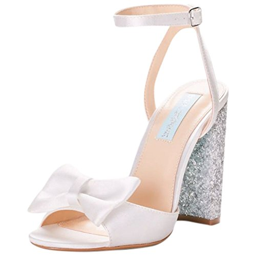 9215b8d1fad4a8 David s Bridal Bow-Front Satin Pumps with Glitter Block Heel Style SBLYLA