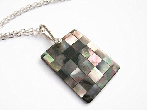 Mosaic Abalone Necklace, Shell Pendant, Handmade Rectangular Beach Jewelry, Handmade in ()