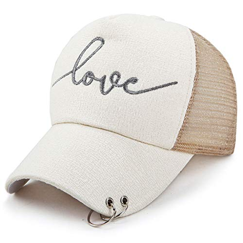 MTX-Hats Baseball Cap Trend Punch Hanging Ring Summer Lady Hoop Silver Silk Sunshade Sun Hat 57-60cm (Color : Beige)
