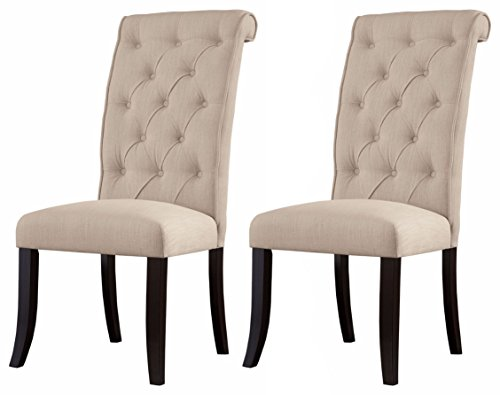 Ashley Furniture Signature Design - Tripton Dining Room Side Chair Set - Upholstered - Vintage Casual - Set of 2 - Linen (Side Table Upholstered)