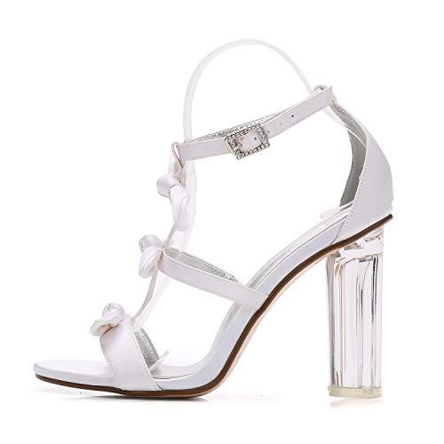 High Toe Chunky Frauen Elobaby 10cm Heel Heels Elfenbein Peep Hochzeitsschuhe Satin wC6YOqgf