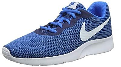 Nike Mens Tanjun Se Low Top Lace Up Running, White-Blue-Navy Blue, Size 11.5
