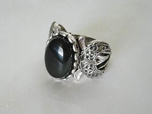Black Onyx Triple Moon Ring, handmade jewelry wiccan pagan wicca goddess witch witchcraft gothic