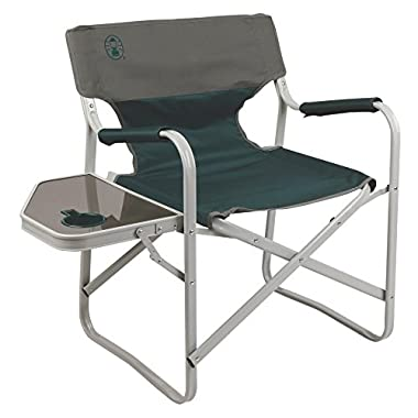 Coleman Outpost Elite Deck Chair with Side Table, Les Green