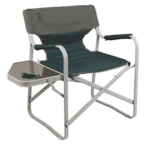 Coleman Outpost Breeze Portable Folding Deck Chair with Side Table ()