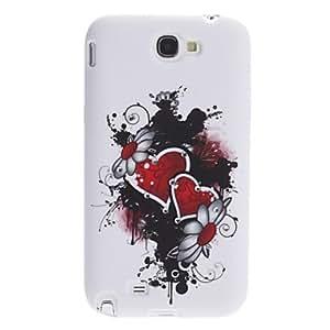 GONGXI-Corazón rojo suave de la caja del patrón con el Rhinestone para Samsung Galaxy Note N7100 2