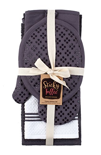 Sticky Toffee Silicone Printed Oven Mitt & Pot Holder, Cotton Terry Kitchen Dish Towel & Dishcloth, Gray, 9 Piece Set by Sticky Toffee (Image #7)