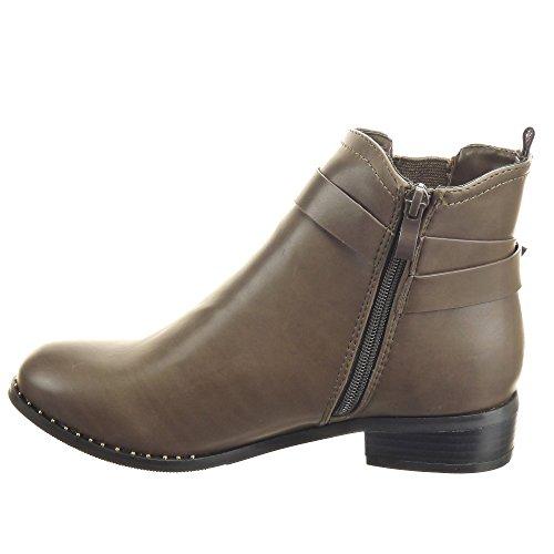 Sopily - damen Mode Schuhe Stiefeletten Chelsea Boots Schleife Schuhabsatz Blockabsatz - Khaki
