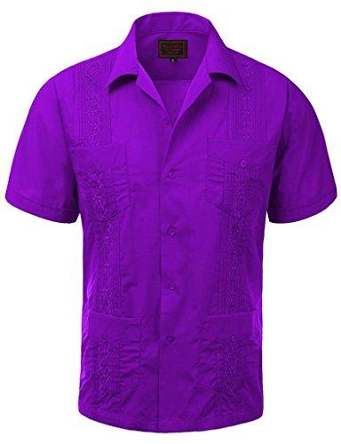 vkwear Guayabera Men's Cuban Beach Wedding Short Sleeve Button-up Casual Dress Shirt (2X-Large, Purple) ()