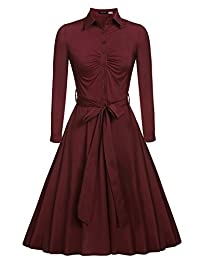 ACEVOG Women's 1950s Bow Belt Vintage Classical Casual Swing A-line Dress