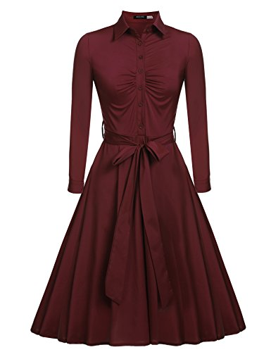 Wine 1950s Swing Red Vintage Bow Women's Belt line Classical ACEVOG Dress A Casual SwqP5a
