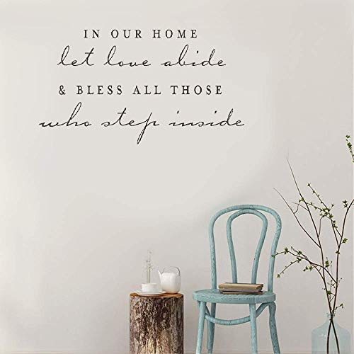 Removable Vinyl Wall Stickers Act Mural Decal Art Home Decor in Our Home Let Love Abide Bless All Those Who Step Inside for Living Room Bedroom