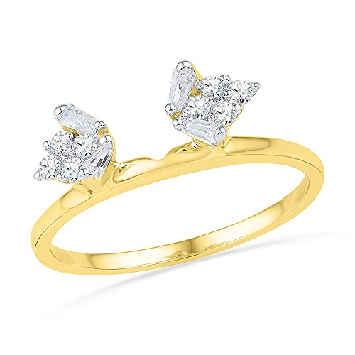 Size 8 - 14k Yellow Gold Baguette Diamond Ring Guard Wrap Solitaire Enhancer (1/4 Cttw) by Sonia Jewels