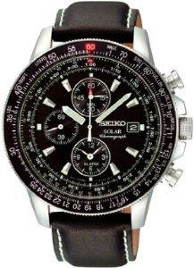Flight Stainless Steel Watch - Seiko SSC009P3 Stainless Steel Solar Flight Quartz Alarm Chronograph Black Men Seiko SSC009P3