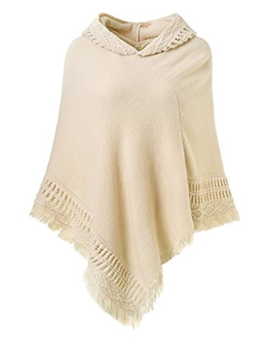 SUNNYME Women Solid Color Poncho Hooded Fringes Crochet Shawl Capes Cover Up Cardigan Off White One Size - Hooded Knit Poncho
