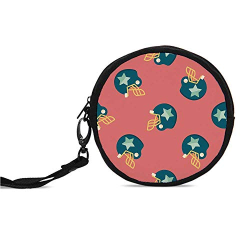 (Football Durable Round Coin Purse,Helmet Figures with Stars Retro Display Game)