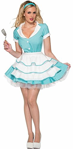 1950's Housewife Halloween Costume (Forum Novelties Women's 50's Flirty Housewife Costume, Blue, Medium/Large)