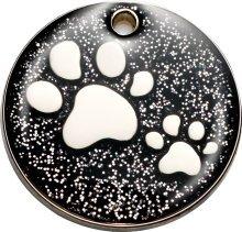 Peque/ño Bow Wow Meow Personalizado Chapa identificativa para Gatos con Forma de Gato de pie con Brillantina en Color Rojo Servicio DE Grabado