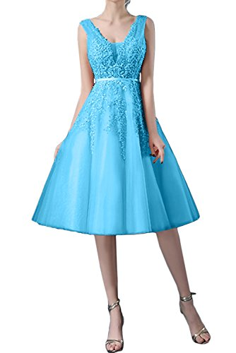 Abendkleider Tuell Damen Brautjungfernkleid Blau Traumhaft Ballkleider Ivydressing Kurz Spitze 7XCInq1O