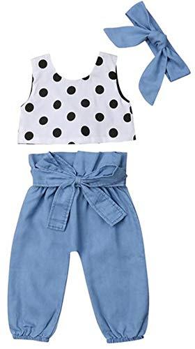Polka Dot Denim Pant - KIDDAD Toddler Baby Girls Polka Dot Print Solid Vest Tops+Denim Elastic Waist Pants+Headband Outfit 3Pcs Set Size 18-24 Months/Tag100 (White)