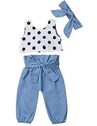 SUPEYA Baby Girls Polka Dot Print Vest Tops+Denim Pants+Headband Outfit 3Pcs Set