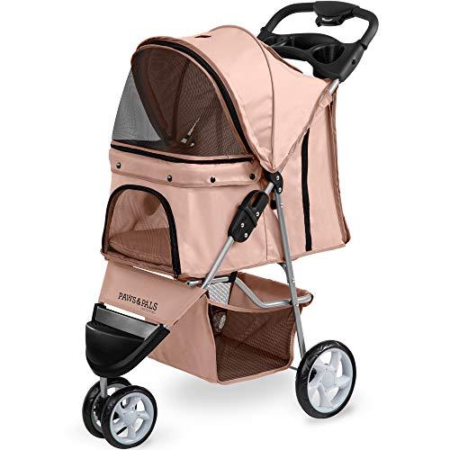 Paws & Pals 3 Wheeler Elite Jogger Pet Stroller Cat/Dog Easy to Walk Folding Travel Carrier, Beige
