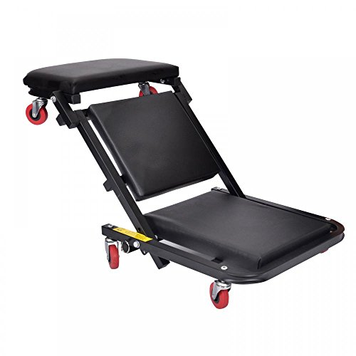 40''Foldable Z Creeper Seat Black Maintenance Shop Car Garage Padded Bed by FDW (Image #5)'