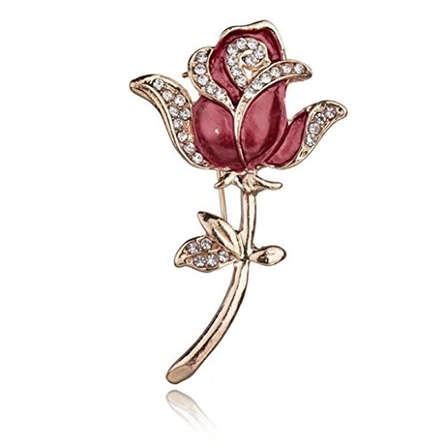 Willsa Crystal Red Rose Pins Rhinestone Flower Brooch Women Clothing Accessories (Rose Rhinestone Brooch)