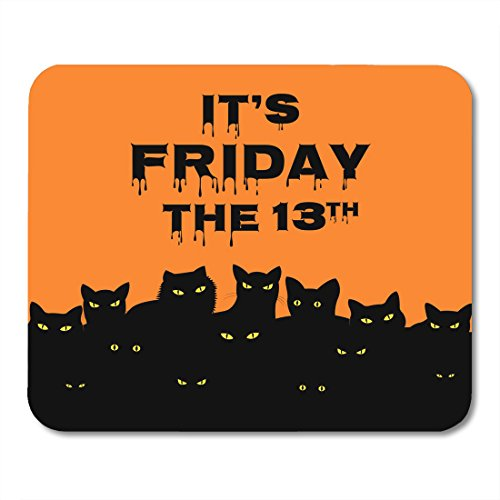 Nakamela Mouse Pads Luck Orange Superstition Halloween for Friday 13 with Black Cats Day Animal Mouse mats 9.5