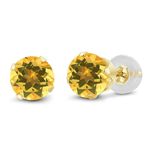 Gem Stone King 14K Yellow Gold Yellow Citrine Stud Women's Earrings (1.40 Cttw, Round 6MM)
